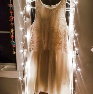 Love Fire White Lace Top Sleeveless Dress